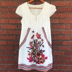 Anthropologie Aryeh Floral Embroidered Boho Dress